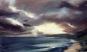 Seascape, watercolor on canvas 44,0 x 26,5 cm, 2007