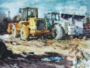 Yellow Digger, watercolor on paper, 63 x 48 cm, 2015