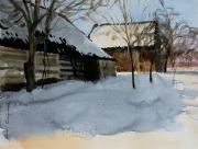 2010 zimowe chałupy 40x50cm akwarela