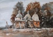 cerkiew w Bruśnie Starym akwarela 50x35 cm