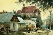 ulica Zamkowa z widokiem na farę w Kazimierzu Dolnym akwarela 30x40 cm