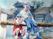 U babci na wsi,akwarela,50x70