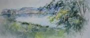 Jezioro w Górznie akwarela 25x56